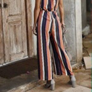 MOUNTAIN VALLEY TRADING Pants & Jumpsuits - NEW PINK STRIPED JUMPSUIT SLIMMING SLIT PANTS